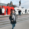 """The sign behind me says """"I Amsterdam"""""""