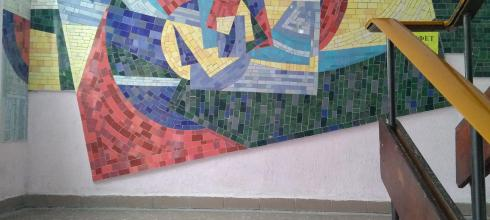 In the main building of the university, there are beautiful mosaics all the way up the stairs