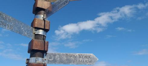 At the Cape of Good Hope, this navigation sign showed me the direction of N.Y.C.