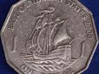 A one Eastern Caribbean dollar coin