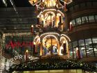 There are lots of decorations, like this multi-level nativity scene