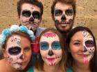 We got our faces painted as Catrinas, which are decorated skeleton caricatures typically seen around Dia de Muertos.