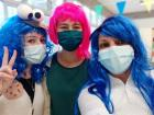 Teacher Deby made a Cookie Monster wig, and Teacher Lorena made a Little Mermaid wig