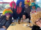We kept our wigs on at lunch, and so did everyone else in town