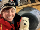 My friendly stuffed animal polar bear named Bjørn helped me collect samples of seawater, sea ice, and snow
