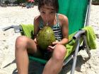 Drinking water straight from the coconut- this cost 5 reais