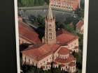 The postcard better shows how this church is built in the shape of a giant cross