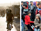 Syrian refugees biking through a busy thoroughfare in the Zaatari Refugee Camp in Jordan (left), and refugees seeking safety in western Europe crowd a train station in Budapest, Hungary (right)